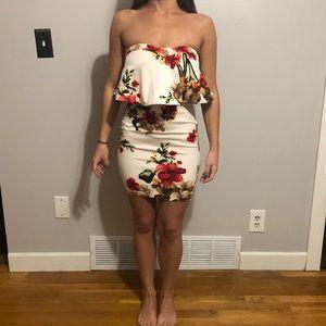 Strapless White floral dress